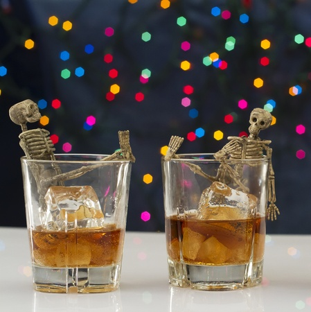 Skeleton with a Whisky. Alcoholism problem Stock Photo - 11492831