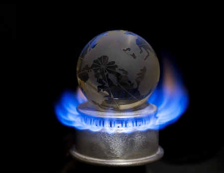 Gas flame with earth Stock Photo - 11492546