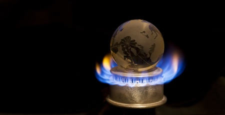 Gas flame with earth Stock Photo - 11490201