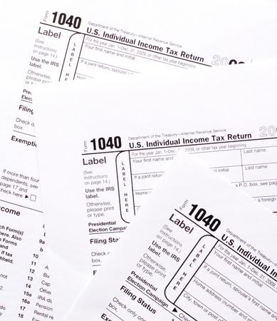 Close-up 1040  tax form