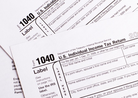 Close-up 1040  tax form