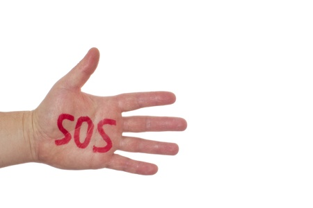 Hand and word sos