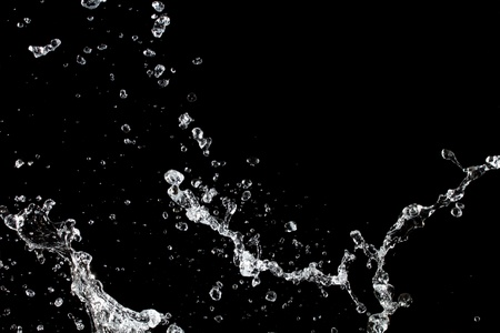 Water splash. Isolated on black background