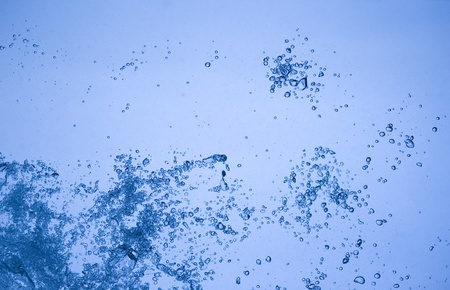 Background with blue water. Abstract with bubbles