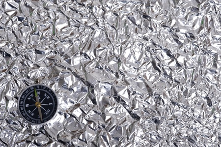 Aluminum Foil abd compas.Creative metallic texture