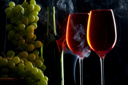 crystal background: Contour wineglass and bottle wine with grape  Stock Photo