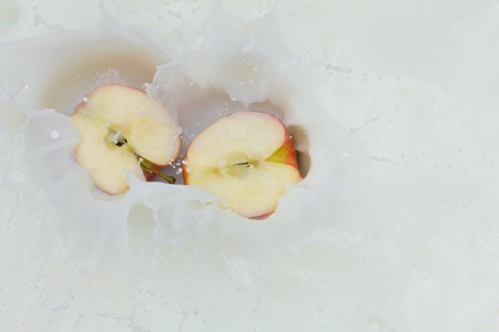 Apple and splashing milk