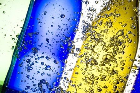 Background with colour bottle and bubbles water