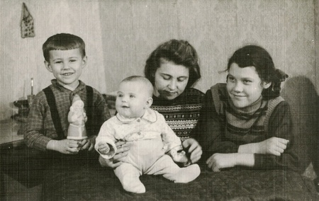 vintage children: Old family photograph
