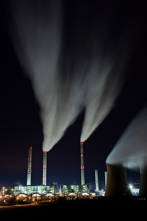 Coal powerplant air emission at the night Stock Photo - 12819174