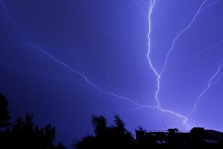 Amazing lightning bolt across the sky photo