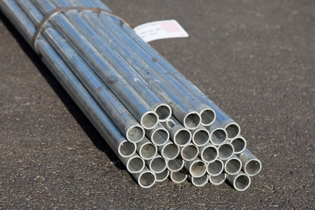 stell: Zinc stell pipes in the bundle Stock Photo