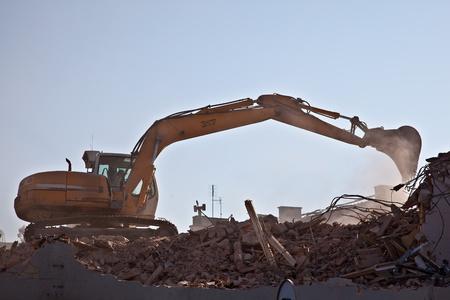 demolition: Demolition of old brick building Editorial