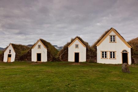 Césped housee cubierta, los edificios originales de islandia