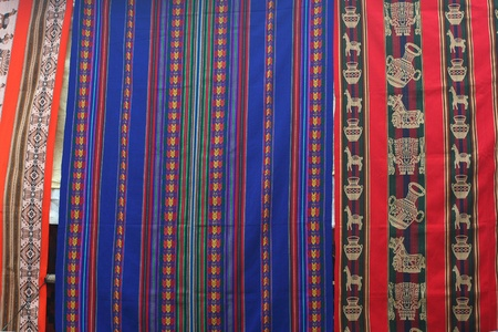Colourful peruan textiles at markets photo