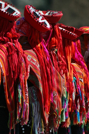 Detail of clothes of Andean dancers