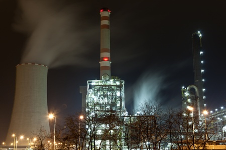 rafinery: Chemical production unit in the night