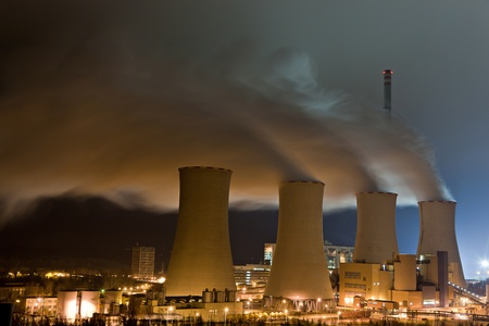Steaming cooling towers of thermal powerplant Stock Photo - 13512855