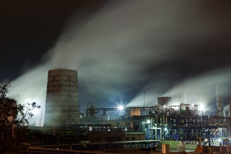 Steaming chemical facilities with pipes and cooling tower