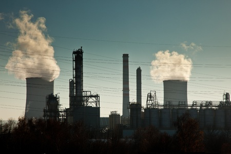 heavy fuel: Industrial complex with cooling towers