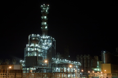rafinery: Chemical production unit at the night