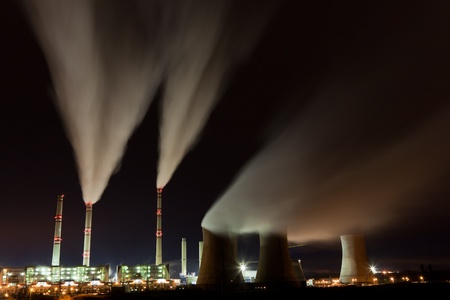 Air pollution of coal powerplant at night Stock Photo - 13512854