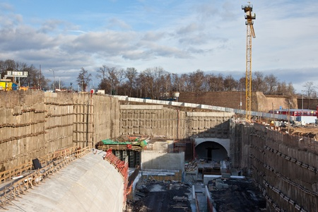 Construction site of tunnel structure