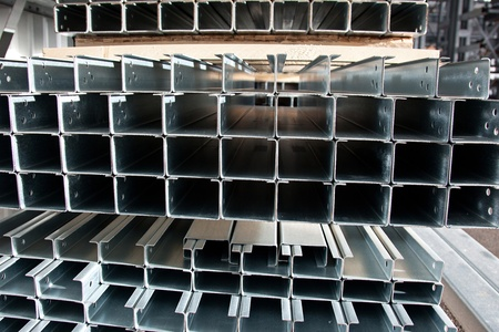 Stell zinc coated profiles in the rack