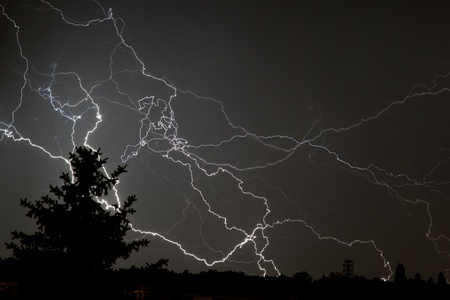 Lightning flash over over the sky photo