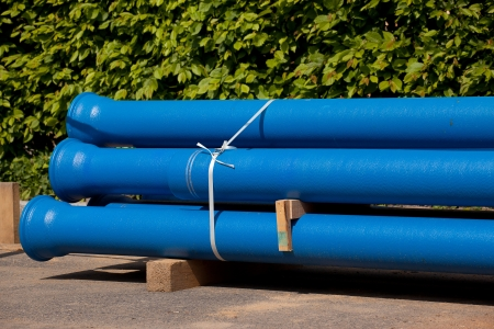steel works: New pipes for water supply in bundle Stock Photo