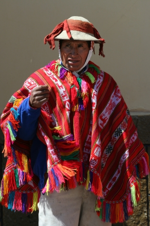 incan: Peruvian dancer in Incan village Ollantaytambo Editorial
