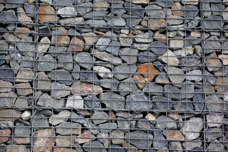 Steel mesh of gabion wall photo