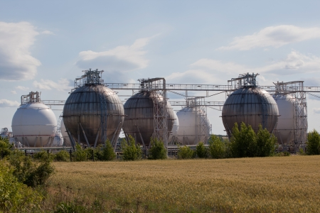 gas ball: Chemical industrial storage sphere tanks