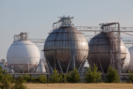 Gas and chemical refinery tanks Stock Photo - 15625852