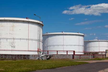liquefied: White tanks for the fuel storage Stock Photo