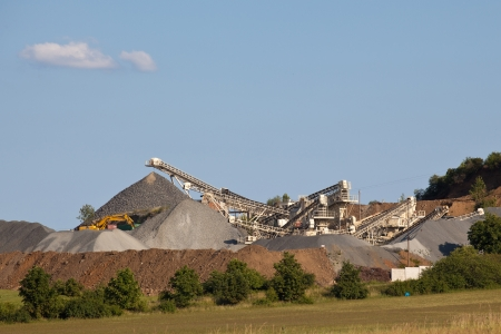 Gravel production with conveyor belts Stock Photo