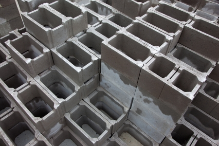 Concrete blocks for bulding construction Stock Photo