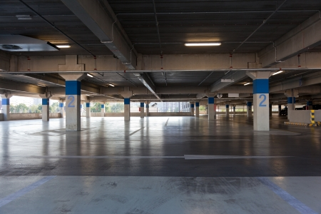 Empty floor of multistory parking lot