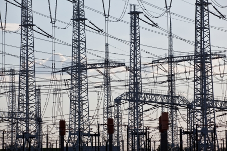 amp tower: Sky with a lot of electric wires and pylons Stock Photo