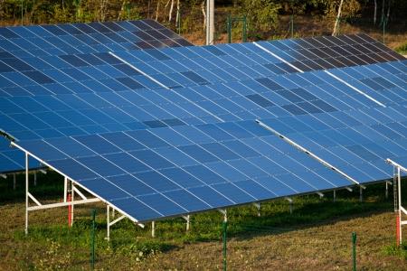 Farm of eco electric energy Stock Photo