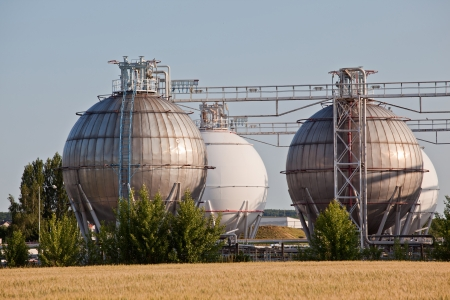 liquefied: Chemical storage tanks for gas Stock Photo