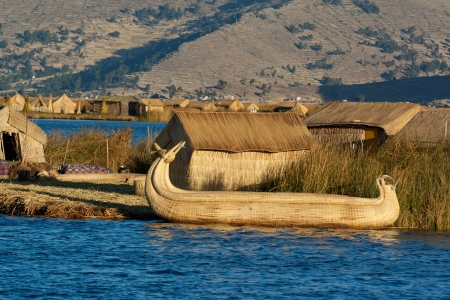 Peru, floating Uros islands on the Titicaca lake