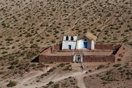 Typical church in altiplano village near San Pedro de Atacama, north Chile