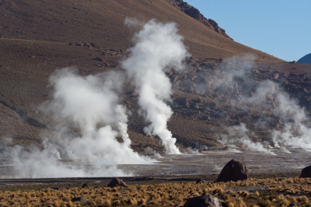 Geothermal area revealing thermal energy