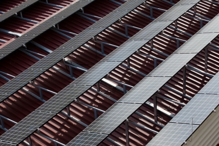 Rows of photovoltaic cells at the roof Stock Photo - 18724546