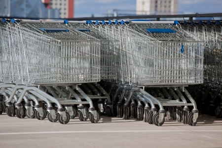 shoppingcarts: Rows of supermarket  shopping trolley
