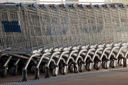 Background of row shopping cart