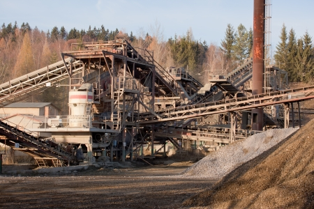 Stone crushing line for gravel production Stock Photo