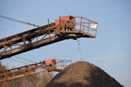Conveyor belt in the gravel  pit photo