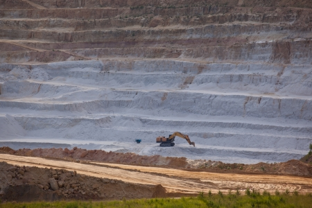 A cliff face of an open pit mine Stock Photo